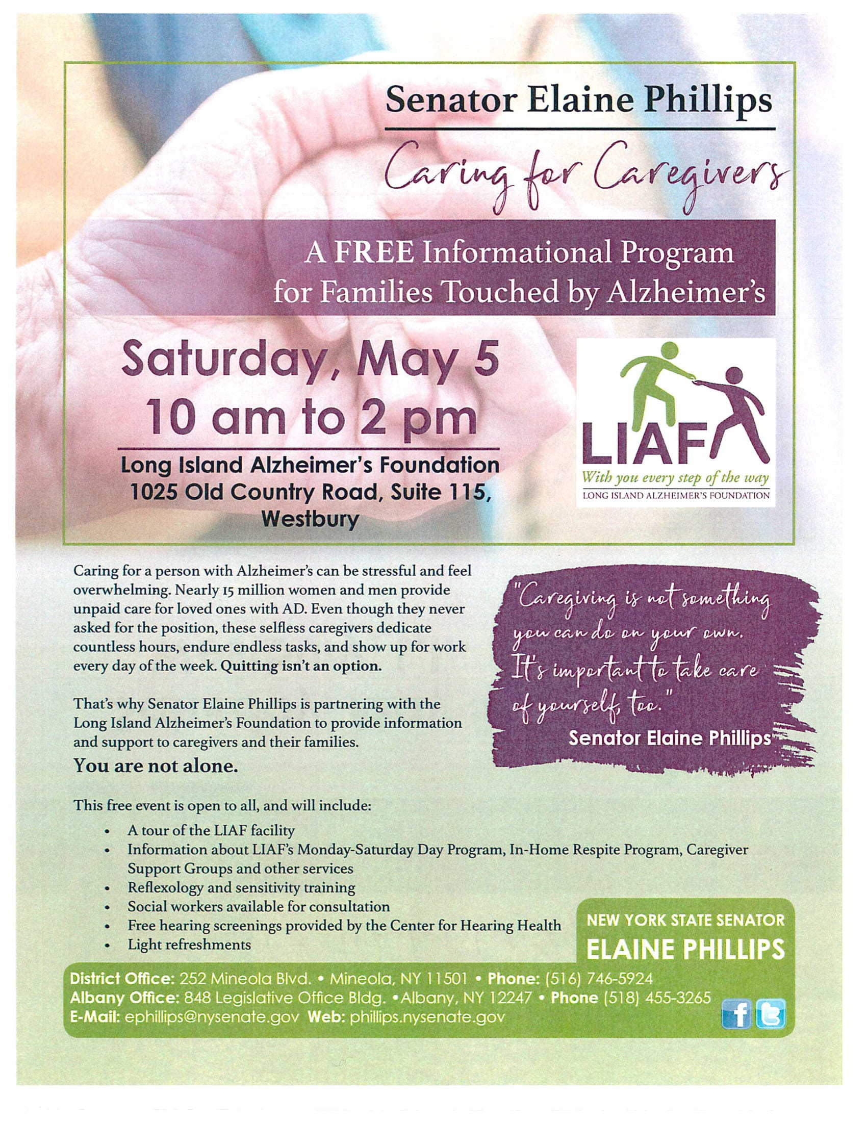 Senator Elaine Phillps - A FREE Informational Program for Families Touched by Alzheimer's